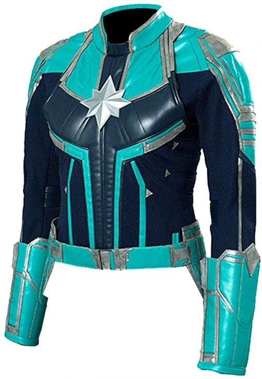 Captain Marvel Green Faux Leather Jacket