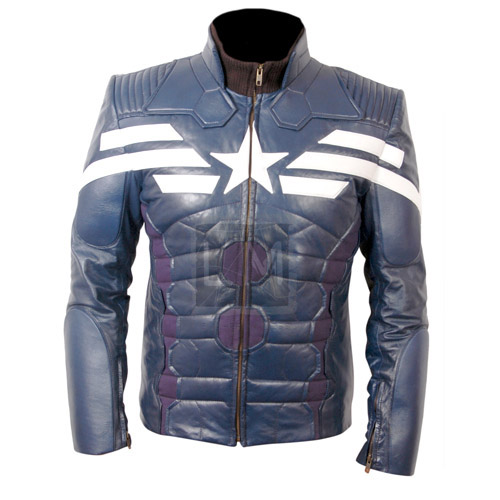Captain America The Winter Soldier Blue Leather Jacket ...