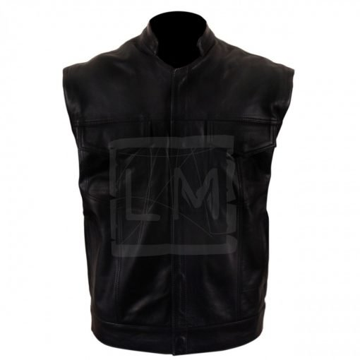 Collared Genuine Black Leather Vest
