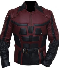 Daredevil Charlie Cox Burgundy Leather Jacket