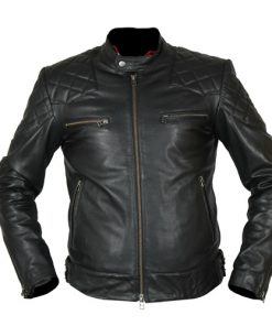 David Beckham Black Biker Leather Jacket
