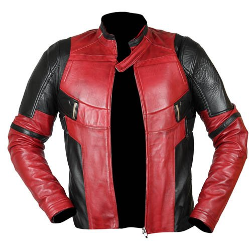 Deadpool Biker Black & Red Genuine Real Leather Jacket