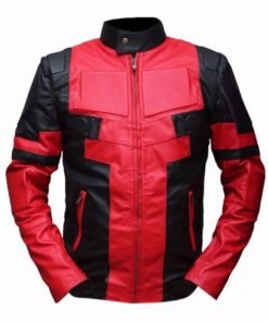 Deadpool Black & Red Genuine Real Leather Jacket