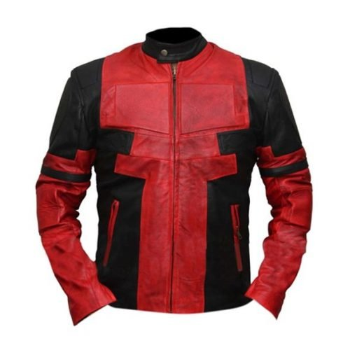 Deadpool Black & Red Waxed Faux Leather Jacket