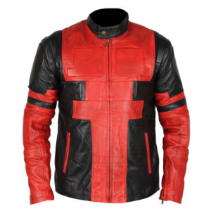 Deadpool Black & Red Waxed Leather Jacket 1-New