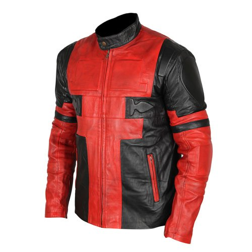 Deadpool Black & Red Waxed Genuine Real Leather Jacket
