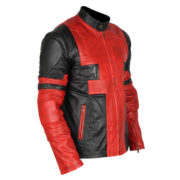 Deadpool Black & Red Waxed Leather Jacket 3-New