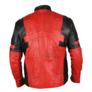 Deadpool Black & Red Waxed Leather Jacket 4-New