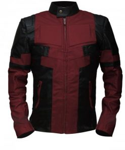 Deadpool Maroon & Black Genuine Real Leather Jacket