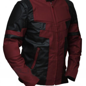 Deadpool Maroon and Black Leather Jacket for Sale