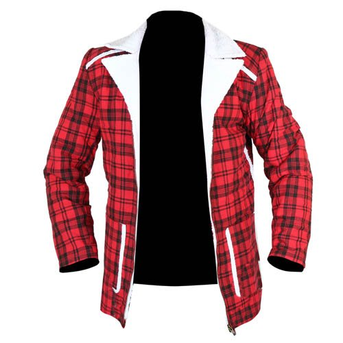 Deadpool Shearling Red Cotton Plaid Jacket