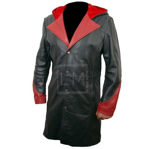 Devil May Cry Black Leather Coat With Hoodie