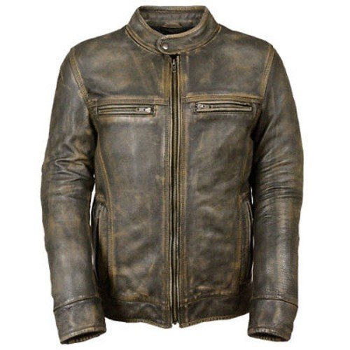 Vintage Distressed Brown Motorcycle Biker Genuine Real Leather Jacket
