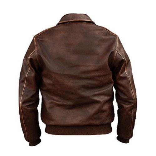 Distressed Brown Bomber Genuine Leather Jacket
