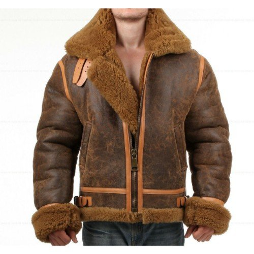 Distressed Faux Shearling Genuine Real Leather Jacket