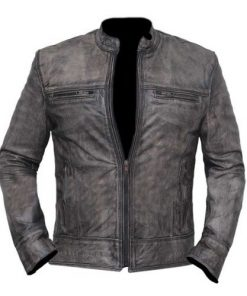 Vintage Distressed Grey Biker Motorcycle Genuine Real Leather Jacket