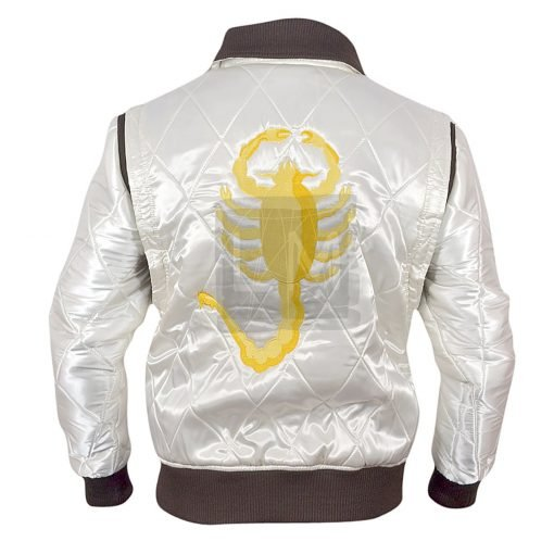Drive White Satin Jacket with Golden Scorpion Embroidery Drive Ryan Gosling