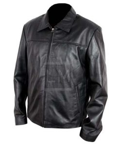 Elegant Black Cowhide Leather Jacket