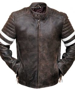 Fight Club Vintage Distressed Brown Genuine Leather Jacket