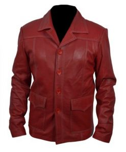 Brad Pitt Tyler Durden Fight Club Red Genuine Leather Jacket