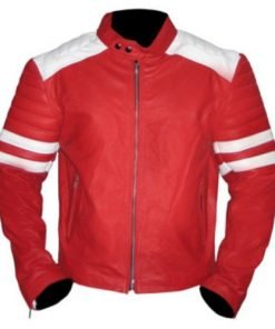 Brad Pitt Tyler Durden Fight Club Vintage Mayhem Red Genuine Leather Jacket