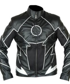 The Flash Zoom Black Faux Leather Jacket