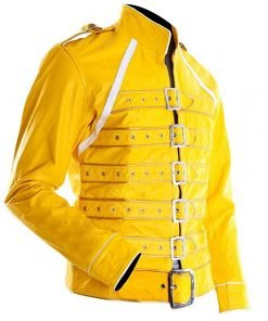 Freddie Mercury Yellow Strap Faux Leather Jacket