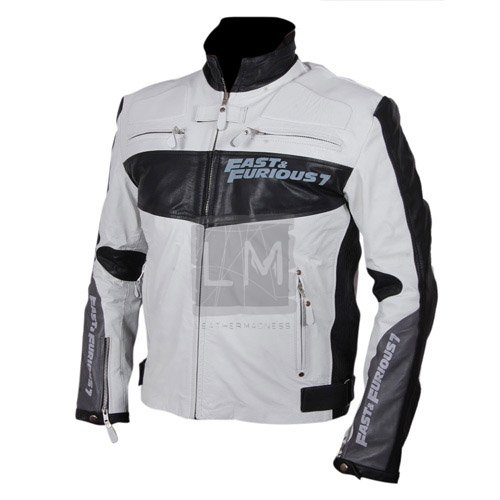 Furious 7 Vin Diesel White Leather Jacket
