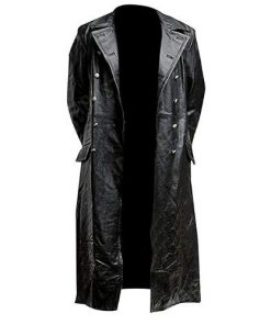 German Officer Black Genuine Real Leather Coat Long Black Trench Coat