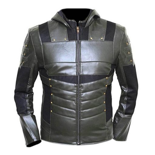 Green Arrow Faux Leather Hoodie