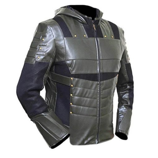 Green Arrow Faux Leather Hoodie 2