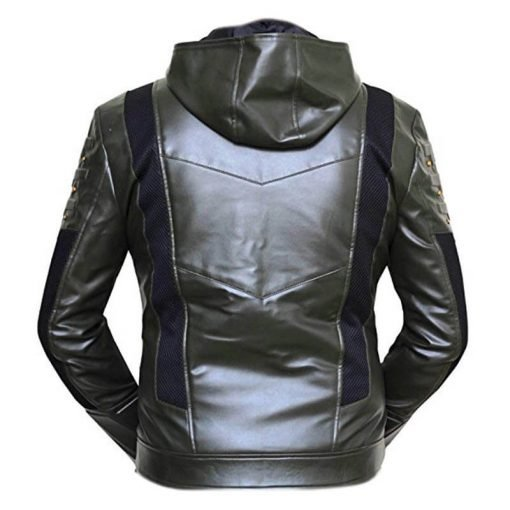 Green Arrow Faux Leather Hoodie 3