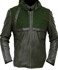 Green Arrow Stephen Amell Hoodie Faux Leather Jacket