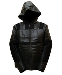 Green Arrow Leather Jacket with Hoodie Season 6