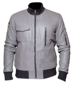 German Flight Luftwaffe Grey Genuine Real Leather Jacket with German Flag