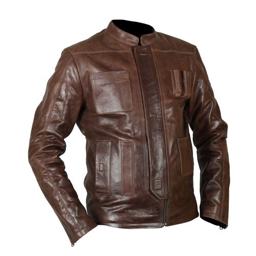 Han Solo Star Wars The Force Awakens Brown Genuine Real Leather Jacket