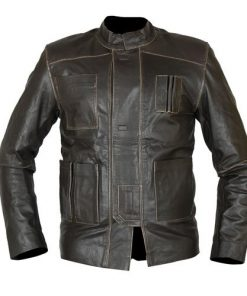 Hans Solo The Force Awakens Distressed Leather Jacket