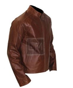 New Jack Reacher Tom Cruise Genuine Leather Jacket Brown Cowhide