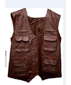 Jurassic World Genuine Brown Leather Vest