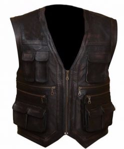 Jurassic World Chris Pratt Owen Grady Distressed Brown Faux Leather Vest