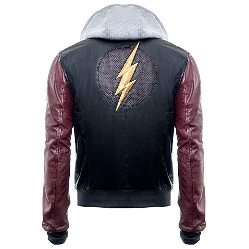 Justice League The Flash Hoodie Black Real Genuine Leather Jacket