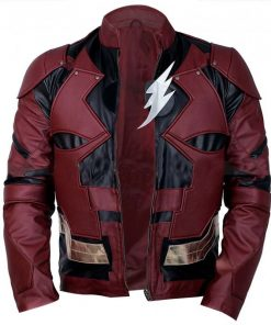 Justice League The Flash Burgundy Faux Leather Jacket