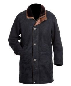 Longmire Black Genuine Real Leather Coat