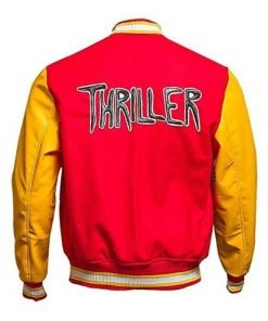 MJ Thriller Michael Jackson Red M Logo Varsity Letterman Bomber Jacket