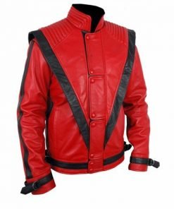 Michael Jackson Thriller Red Leather Jacket