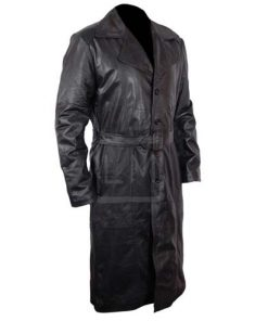 Mens Vintage Overcoat Black Long Leather Duster Trench Coat