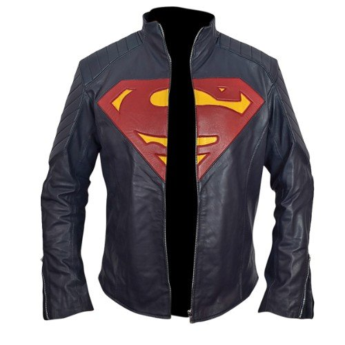 Superman Man of Steel Midnight Blue Leather Jacket Henry Cavill