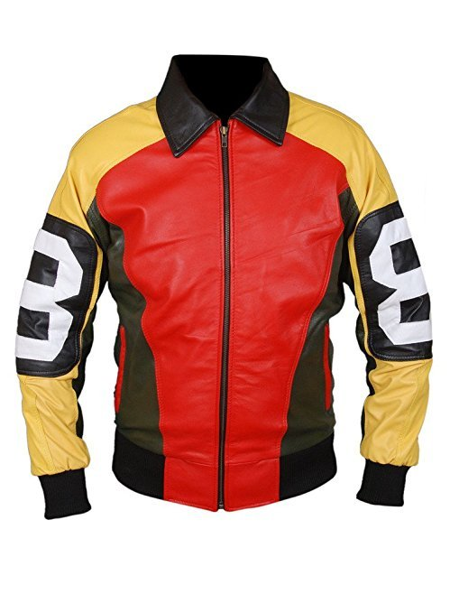 Mens 8 Ball Multi colored Genuine Bomber Leather Jacket
