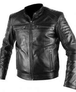 Mens Antique Black Biker Waxed Faux Leather Jacket