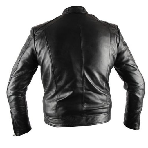 Mens Antique Black Biker Waxed Genuine Real Leather Jacket
